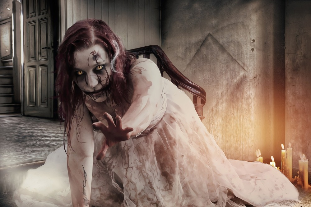 zombie at a haunted house